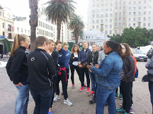 Sam conducting a city walking tour